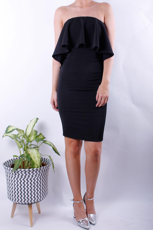 black bandeau frill dress