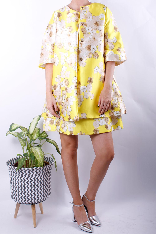 blossom print jacket yellow