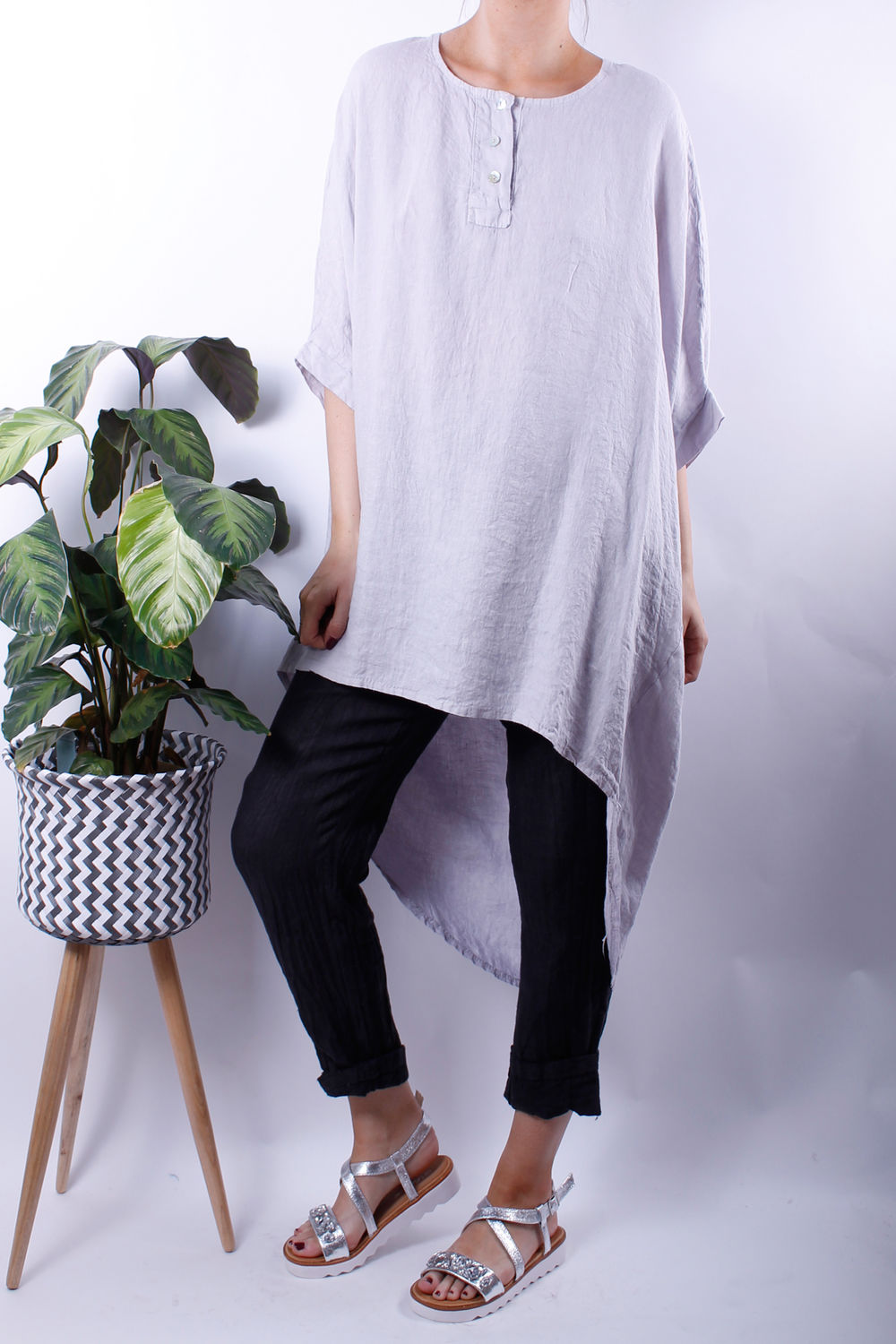 circle dip hem linen tunic dove grey