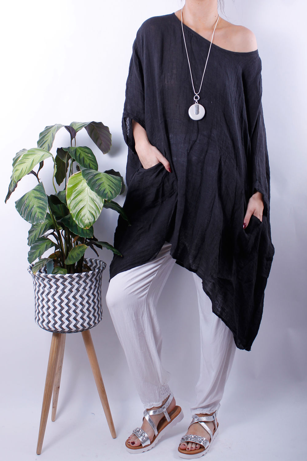 dip side oversized pocket top slate