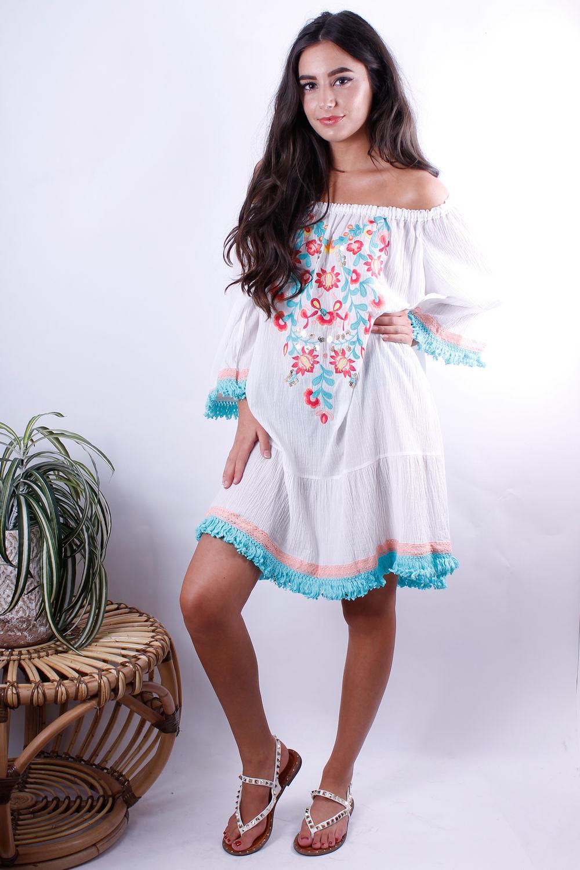 Embroidery Bardot Swing Dress