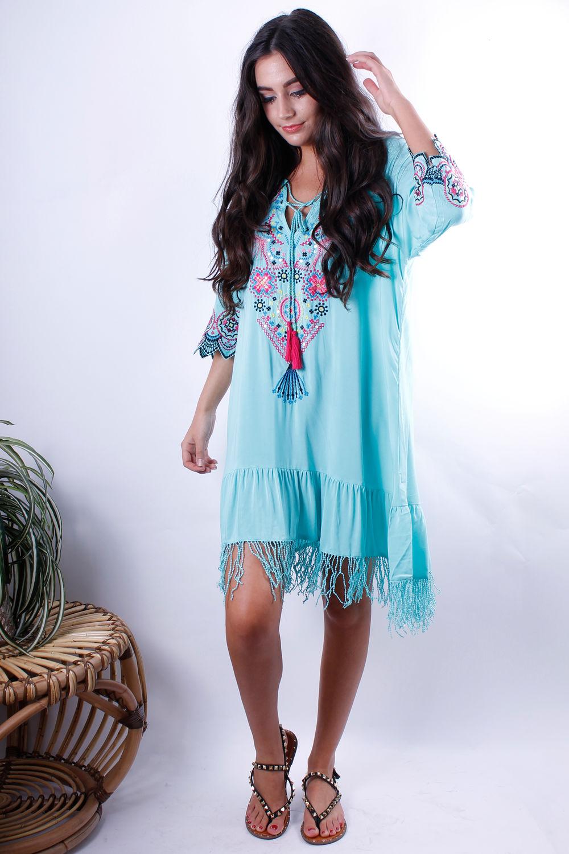 Fringe Embroidery Dress Azzure