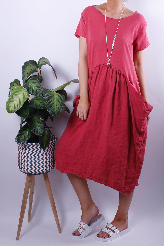 Jersey Linen Pocket Tee Dress Indian Red