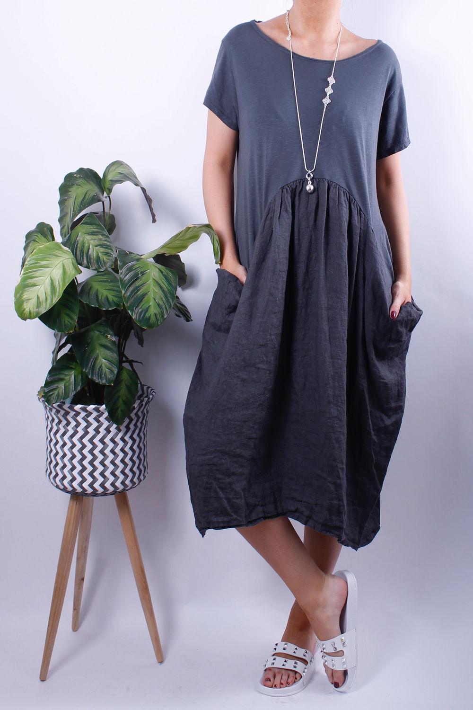 Jersey Linen Pocket Tee Dress Slate Grey