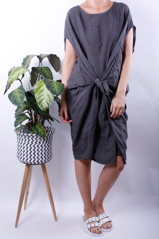 Linen Tie Front Cocoon Dress Slate