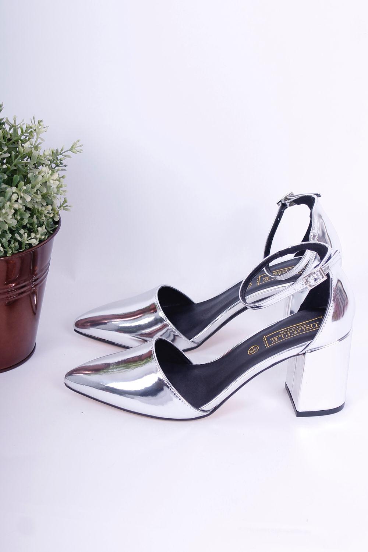 metallic silver pointed block heels