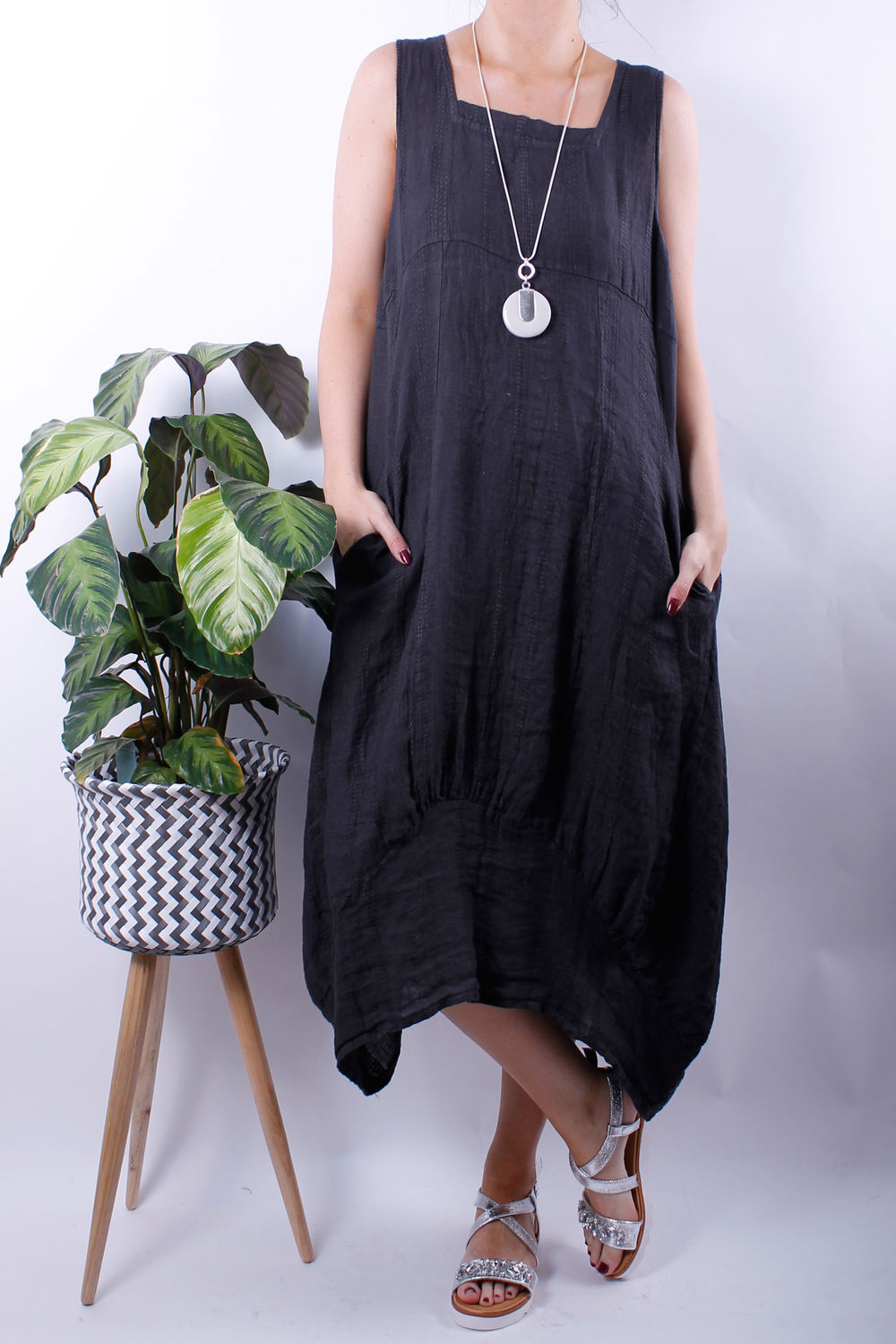 textured linen dip side dress slate