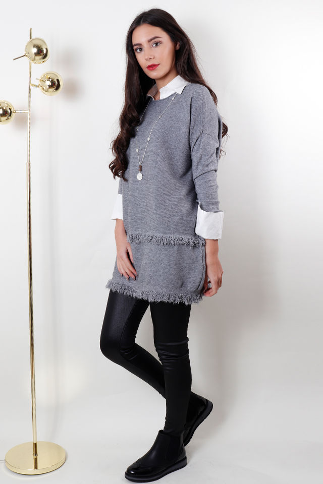 the fringe knit grey