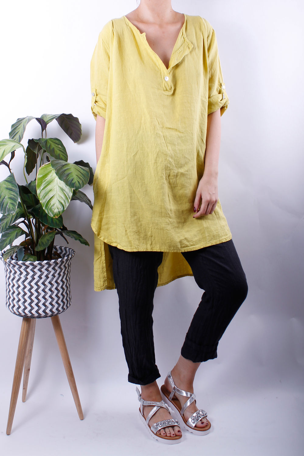 turn up sleeve button linen tunic sulphur