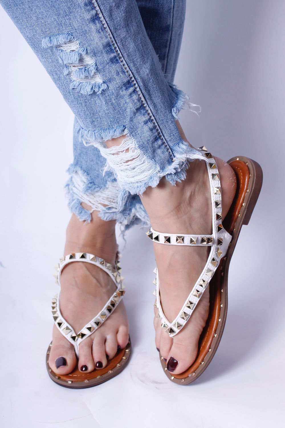 Val Stud Sandals White