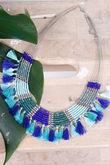 Alex-Max Fringe & Bead Necklace Azure