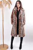 Long Faux Fur Leopard Coat