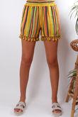 Mexicana Stripe Tassel Shorts Mustard
