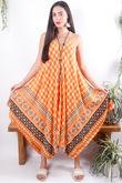 Moroccan Handkerchief Dress Tangerine