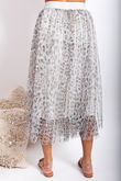 Namaste Midi Tulle Skirt Grey Leopard