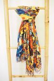 Reversible Impressionist Abstract Scarf Orange Blues