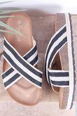 Stripe Hessian Slider Black