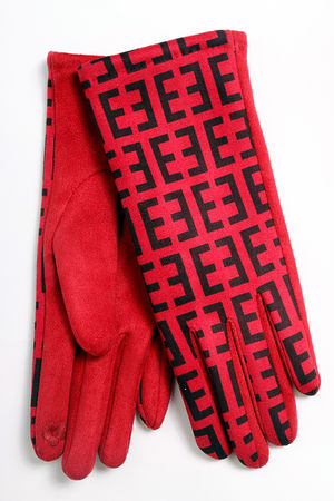 Fenwick Suedette Gloves Red