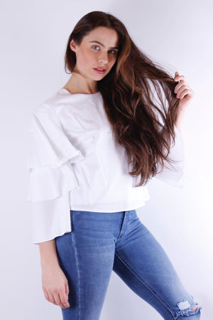 Laura Poplin Ruffle Sleeve Top White
