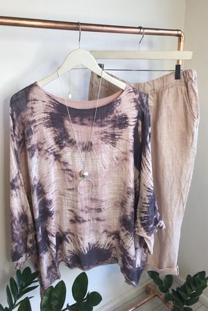 Oversized Drape Fossil Top Blush