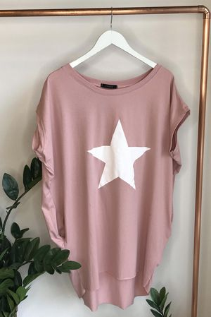 Mercer Paint Star Longline Pocket Tee Blush