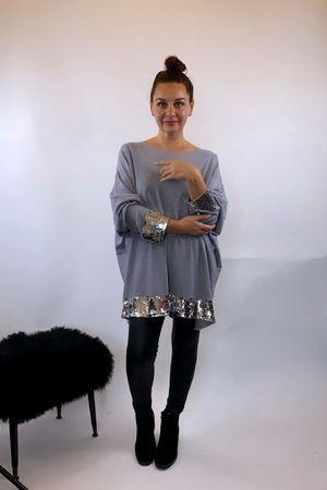 The Tilbury Sequin Knit Grey Marl