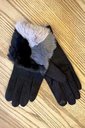 Tricolore Faux Fur Gloves Black