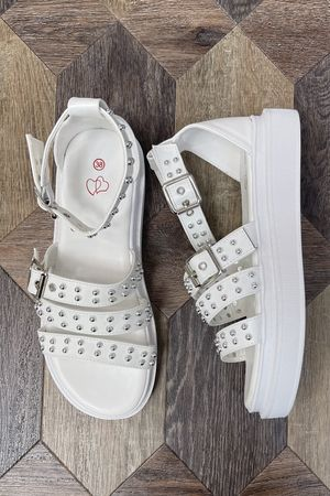 The Stud Muffin Sandal White