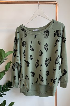 Made In Italy Lounge Leopard Sweat Khaki