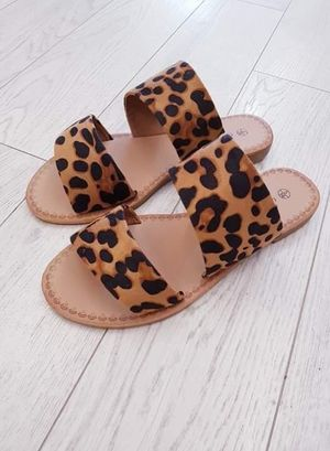 Leopard Two Strap Sandals