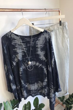 Oversized Drape Fossil Top Navy