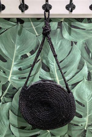 Circle Straw Bag Black