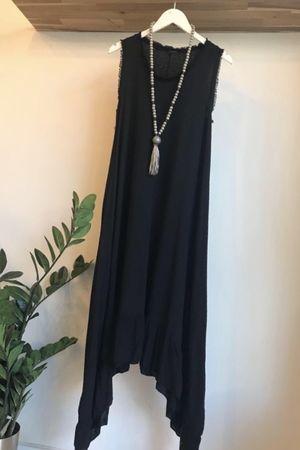 Dip Side Midi Sun Dress Black