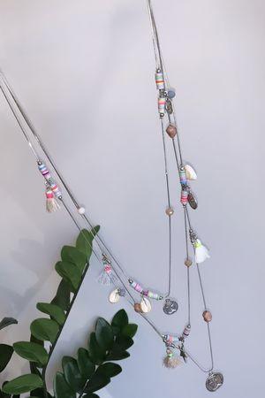 Multi Layer Charm & Tassel Necklace