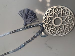 Bead & Tassel Sun Disc Necklace