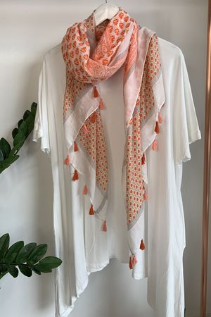 Moroccan Tile Tassel Scarf Mixed Coral
