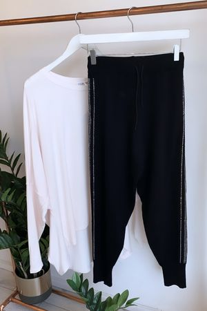 Diamante Side Stripe Knitted Jogger