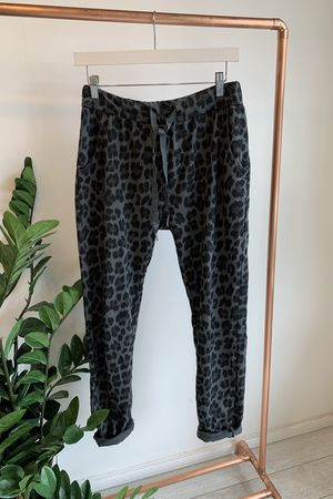 Made In Italy Lounge Leopard Joggers Slate