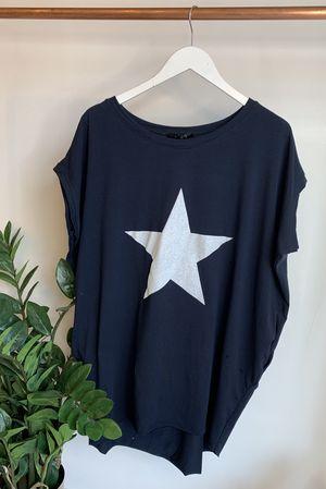 Mercer Paint Star Longline Pocket Tee Navy