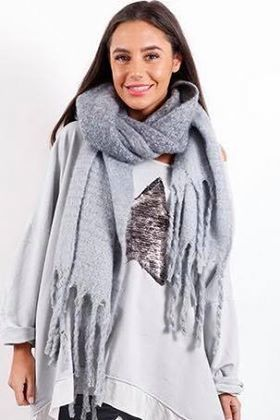 Luxury Super Soft Fringe Scarf Misty Blue