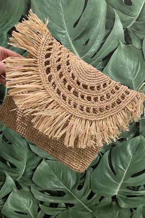 Happy Few Straw Clutch Bag Natural