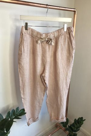 Made In Italy Linen Pant Blush