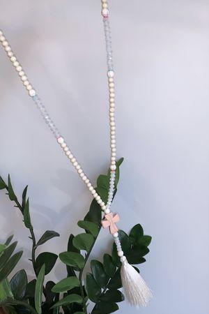 The Bead Tassel Cross Necklace