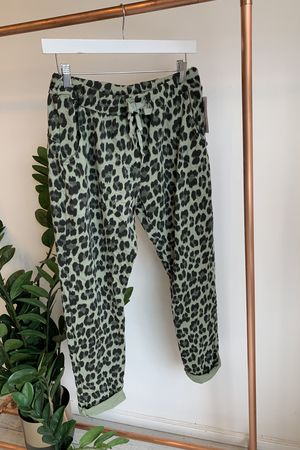 Made In Italy Lounge Leopard Joggers Washed Khaki