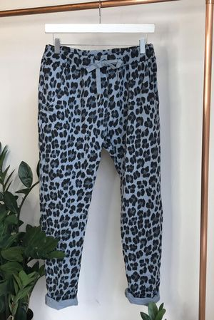 Made In Italy Lounge Leopard Joggers Denim