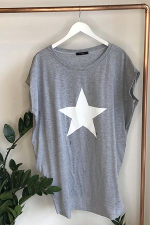 Mercer Paint Star Longline Pocket Tee Grey