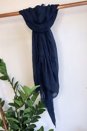 Muslin Raw Edge Scarf Navy