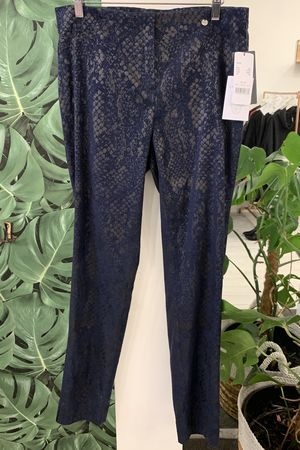 Robell Rose Metallic Navy Snakeskin Trouser