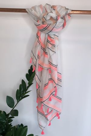 Stripe Tassel Scarf