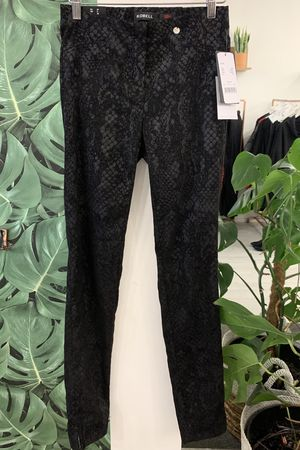 Robell Rose Metallic Black Snakeskin Trouser